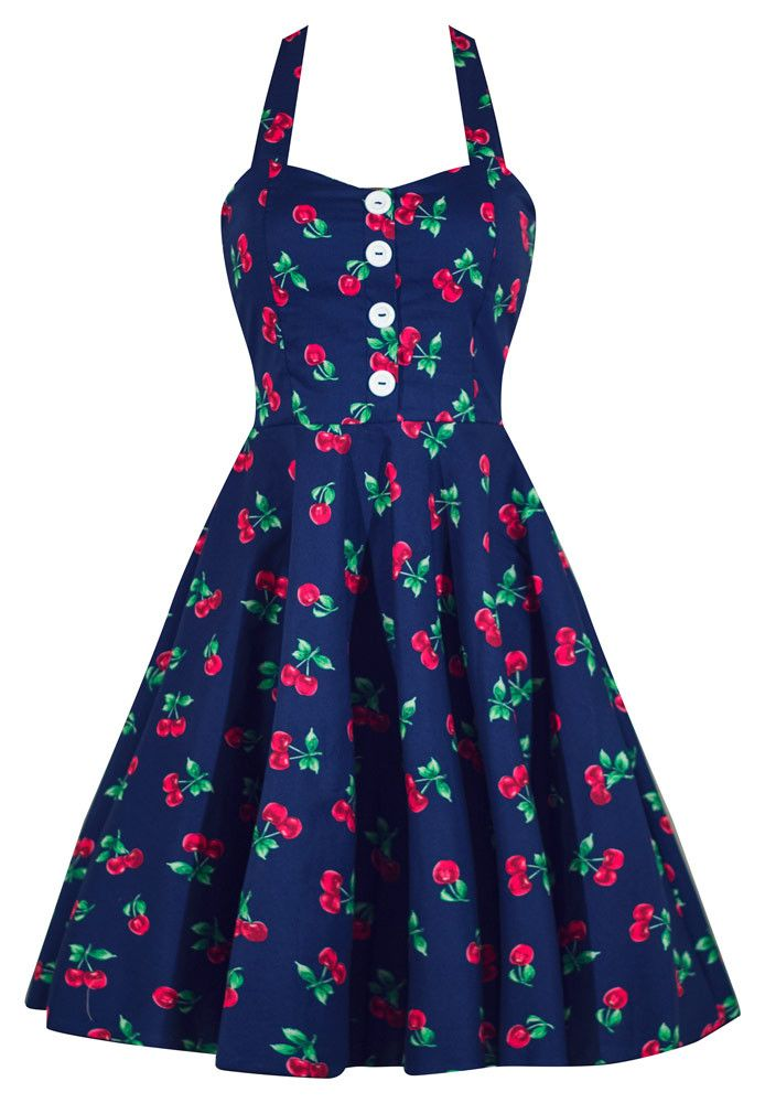 This Made in the USA cherry print swing dress is the perfect go to pinup dress! Smocking in back for added stretch, comfort, and impeccable fit makes this dress a must!