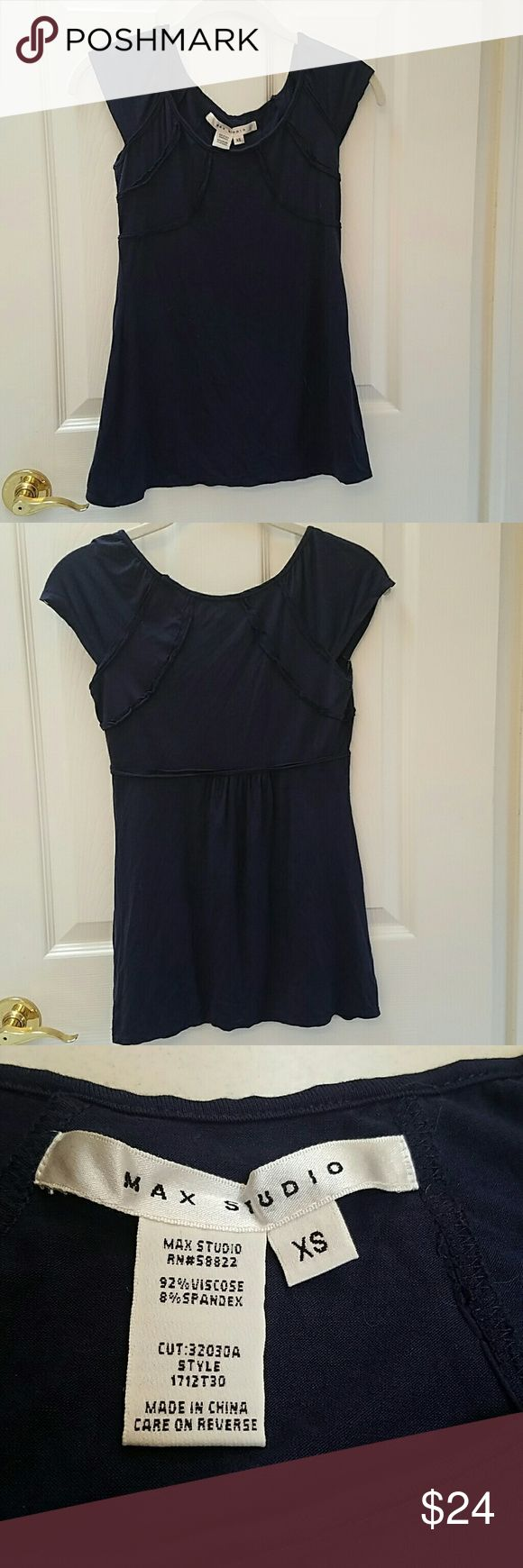 Max Studio navy short sleeve top. XS Max Studio navy short sleeve top. XS. Soft & comfy. A perfect navy blue wardrobe staple. Excellent condition. Max Studio Tops