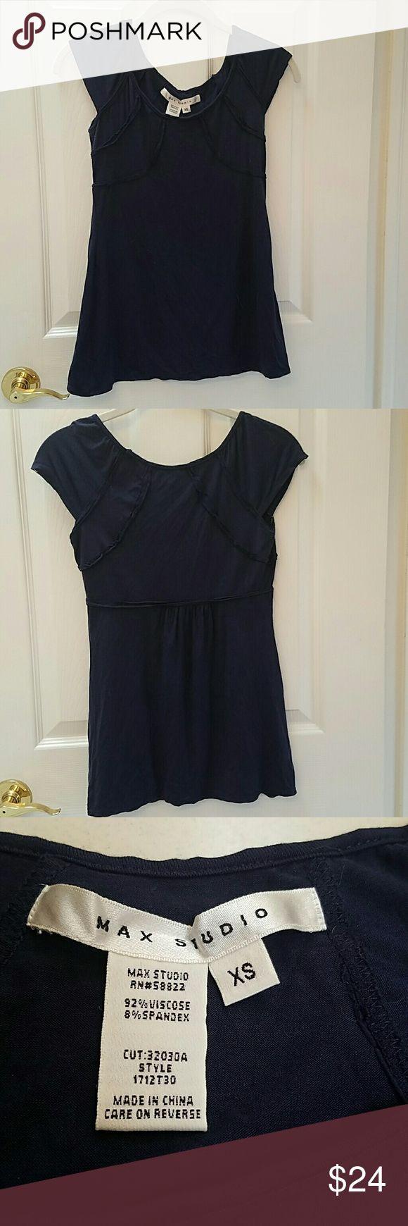 Max Studio navy short sleeve top. XS Max Studio navy short sleeve top. XS. Soft & comfy. A perfect navy blue wardrobe staple. Excellent condition. Max Studio Tops