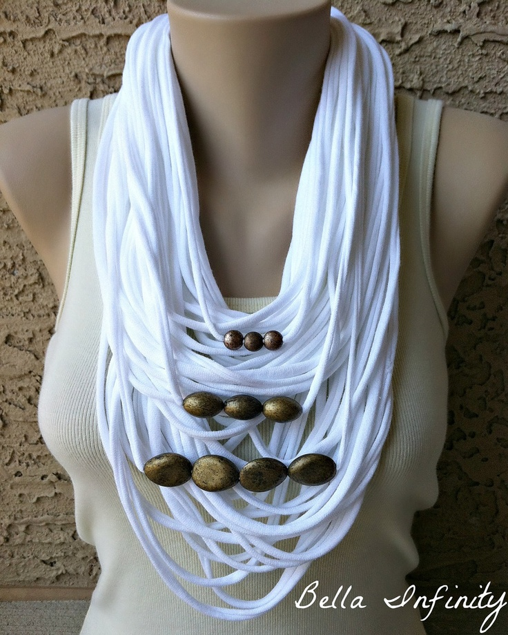 Bella Infinity Beaded Scarf White Up-Cycled Jersey Fabric Gold Metallic Beads Casual Chic. $28.00, via Etsy.