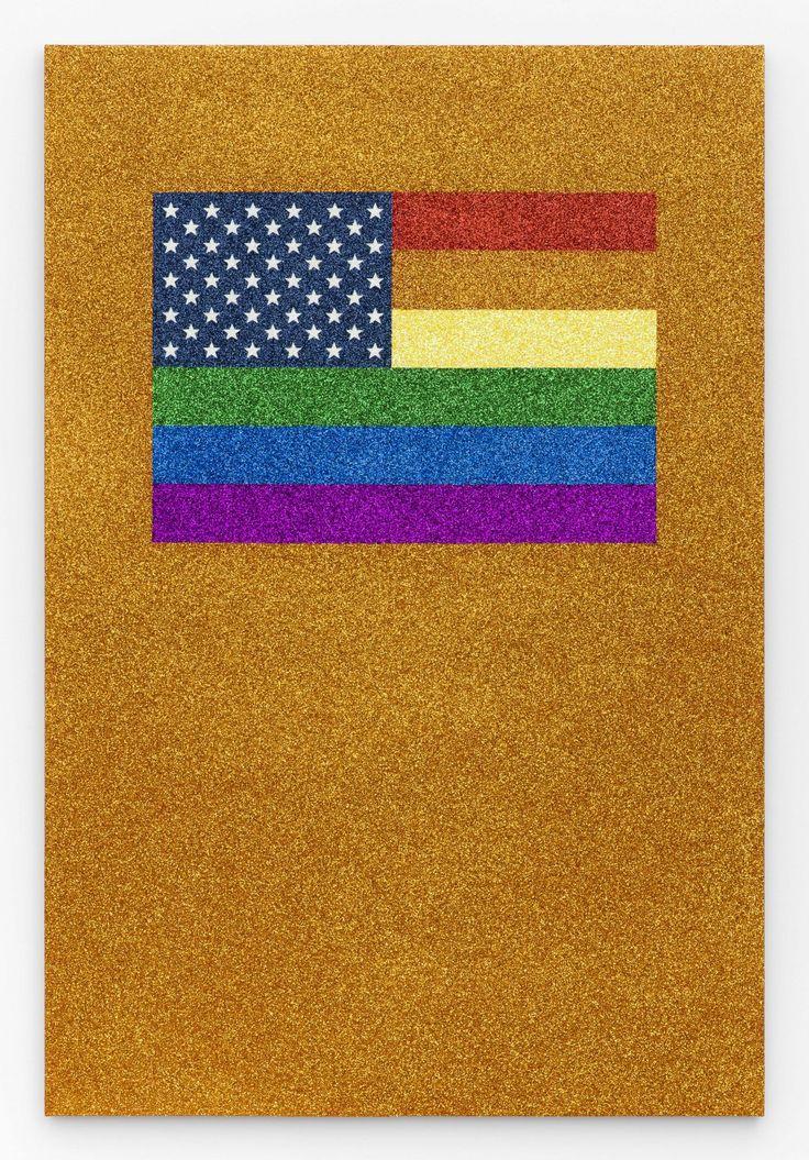 JONATHAN HOROWITZ, Rainbow American Flag on Orange Field II for Jaspers in the Style of the Artists Boyfriend, 2015. Courtesy Jonathan Horowitz and Xavier Hufkens Brussels. © Thomas Mueller, New York