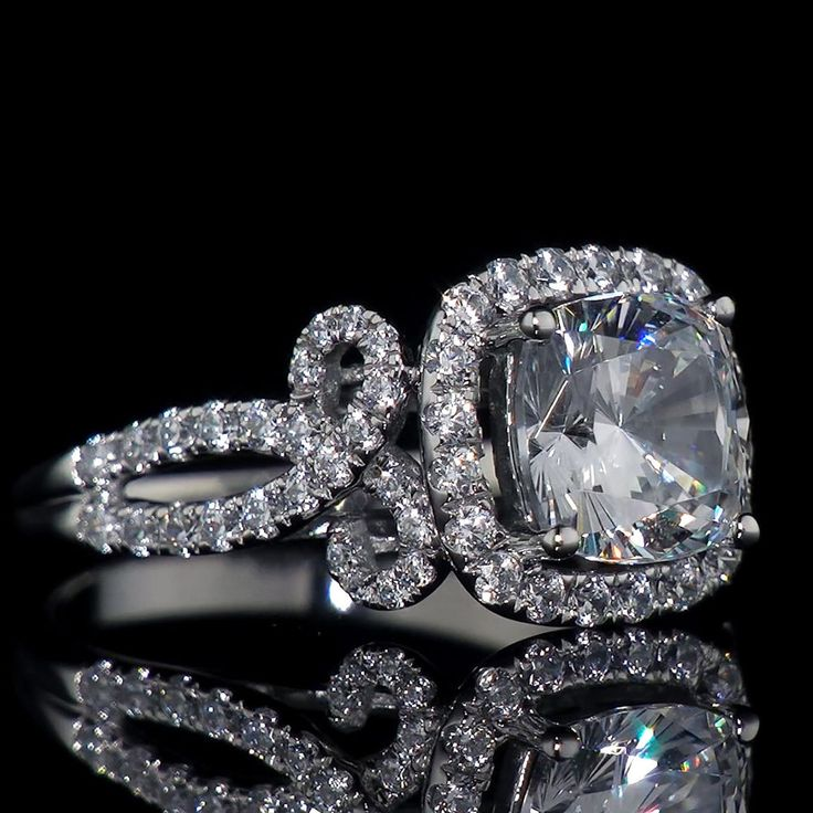 3.80 Ct Vintage Infinity Lab Diamond Cushion Halo Engagement Ring 14k White Gold #AristaJewels #vintagehalocushionLabdiamondengagementring #EngagementAnniversaryCocktail