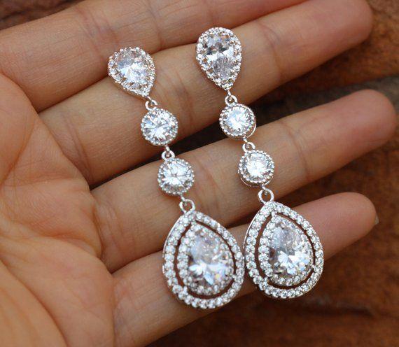 Femmes Mariage Bijoux AAA Zircone Cubique Boucles d/'oreille Larme Goutte//Dangle Earrings