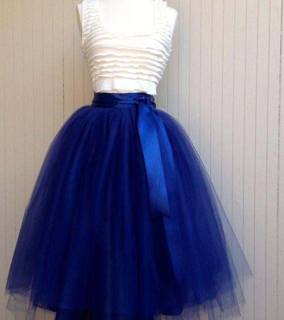 Navy Blue Tulle Skirt Tutu For Women Lined In Black Satin