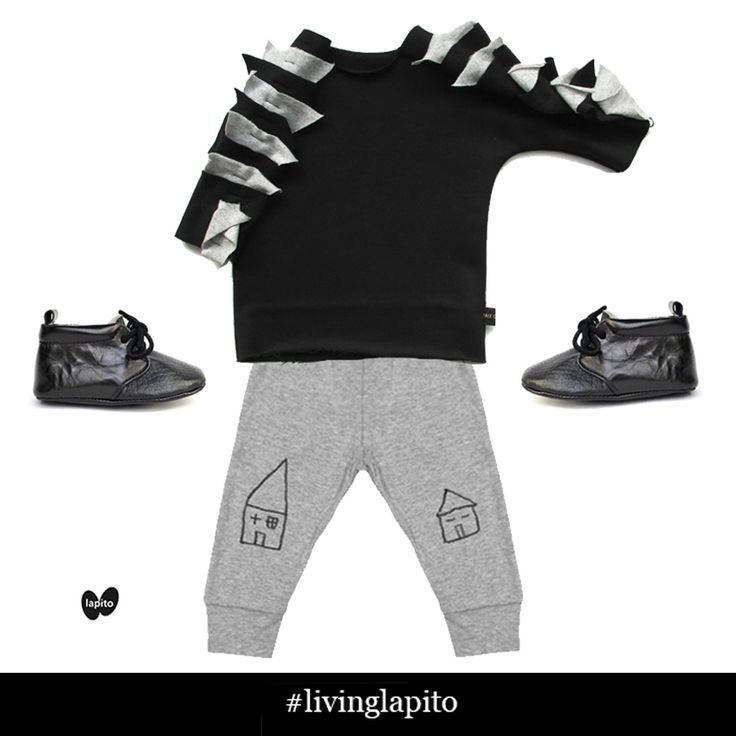 Trendy little tot! Kid and Kind leggings, Tale of Boy jumper, Lapito Footwear Licorice baby shoes
