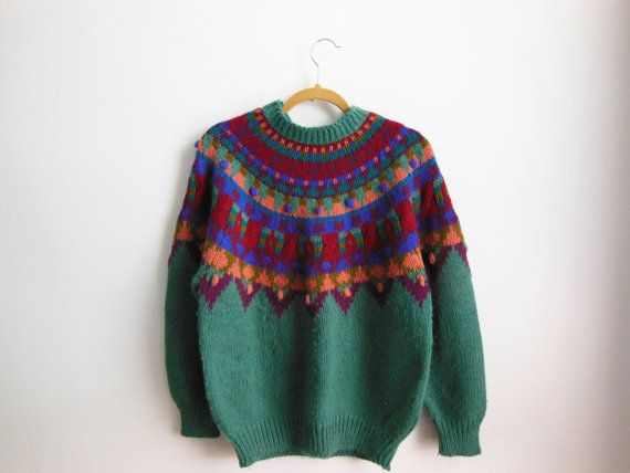 Vintage 90s Hand Knit Nordic Fair Isle Sweater by OURSISYOURS ...