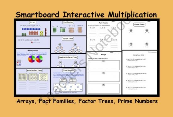 Smartboard Interactive Multiplication (Arrays, Fact Families, Factor Trees)  product from Teaching The Smart Way on TeachersNotebook.com