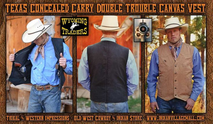 Wyoming Traders Texas Canvas Concealed Carry Vest - Tan Or Black Colors from Tribal And Western Impressions- Old West Cowboy And Indian Store- www.indianvillagemall.com