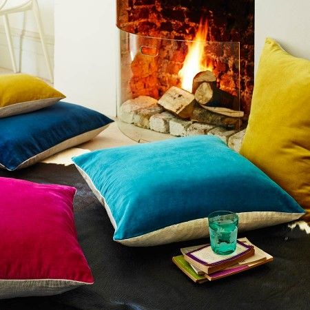 Velvet & Linen Backed Floor Cushions