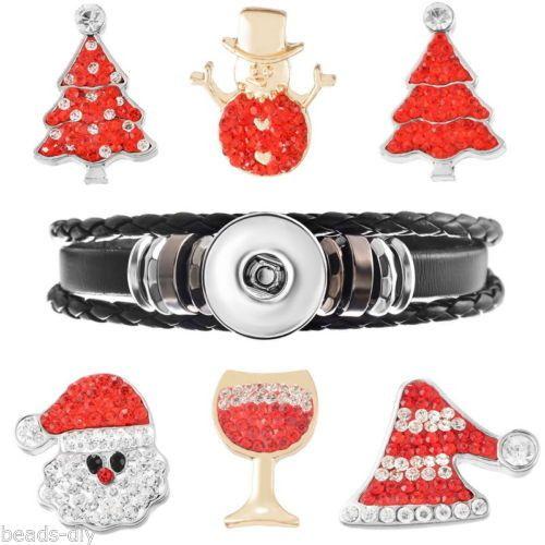 1Set BD Fashion Silver Tone Black Snap Button Jewelry Charms Bracelet 21cm