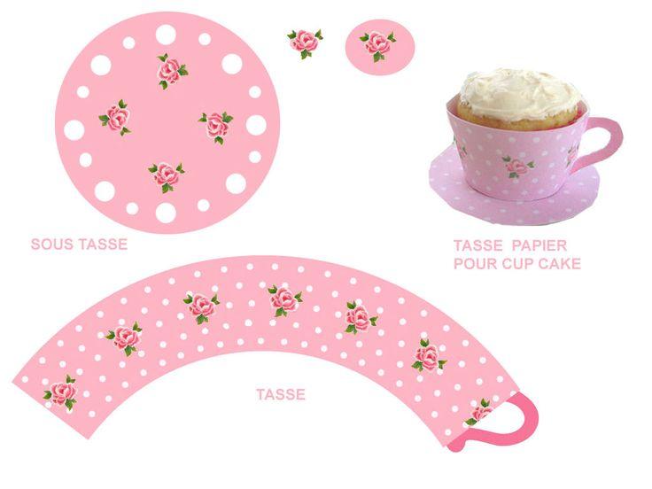 Printable Teacup Cupcake Wrapper