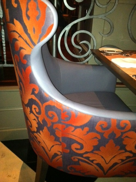 44 best images about dining room chairs on pinterest for Orange and grey dining room
