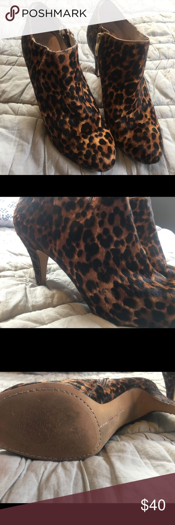 """Vince Camuto Leopard Calf-Hair Ankle Booties Great condition. Some scuff marks. 'Vive' bootie. Side-zip. 3"""" heel. Nordstrom exclusive. Genuine calf-hair. Vince Camuto Shoes Ankle Boots & Booties"""