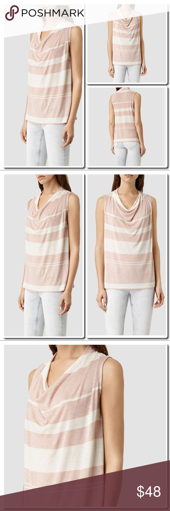 ALL SAINTS Amei Stripe Top Cami Pink/ white A loose fitting jersey Top with seasonal Stripe finish. Slouchy neckline. Sleeveless. Stripe a Print. Oversized Fit . Cropped . Worn with mast bleached jeans. 70% Viscose 30% wool - Handwash inside out. All Saints Tops Tees - Short Sleeve