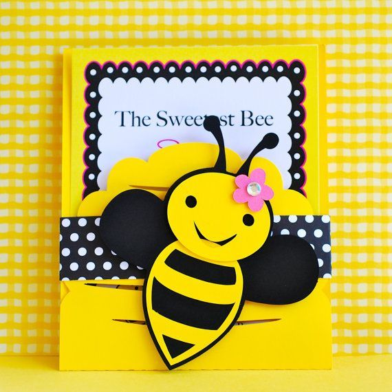 Custom Bumble Bee Invitations - set of 10 on Etsy, $27.50