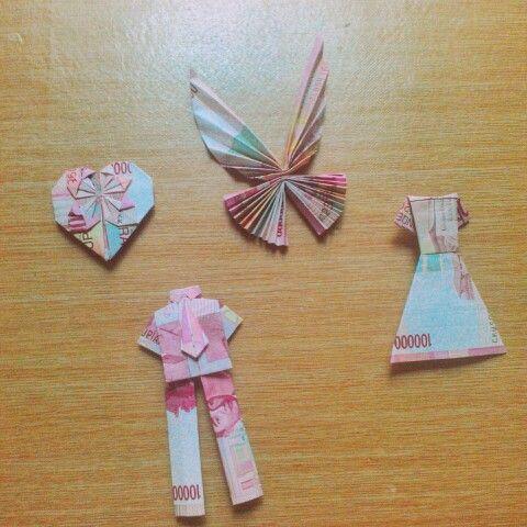 Money Origami using Indonesian Rupiah for my friend's wedding mahar (mahar pernikahan) made by me #mahar #pernikahan #wedding #idea #origami