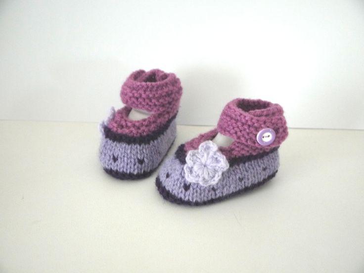 Babies chaussons bébé ballerines naissance 0/1 mois violet lilas prune chaussures fleurs : Mode Bébé par sweet-creas