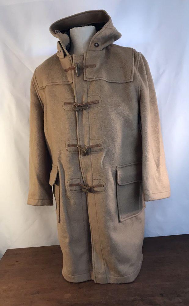 9bc94227d Burberrys Hooded Wool Toggle Duffle Coat Plaid Lined Tan Overcoat ...