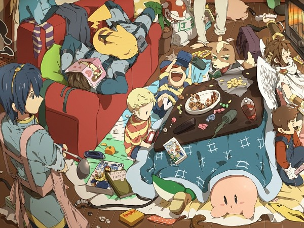 I like the idea of thinking of SSBB as a party with all the characters just having fun and vegging out together (SSBB fanart by Ploki , lol love how Marth is doing the cooking and cleaning! XD)