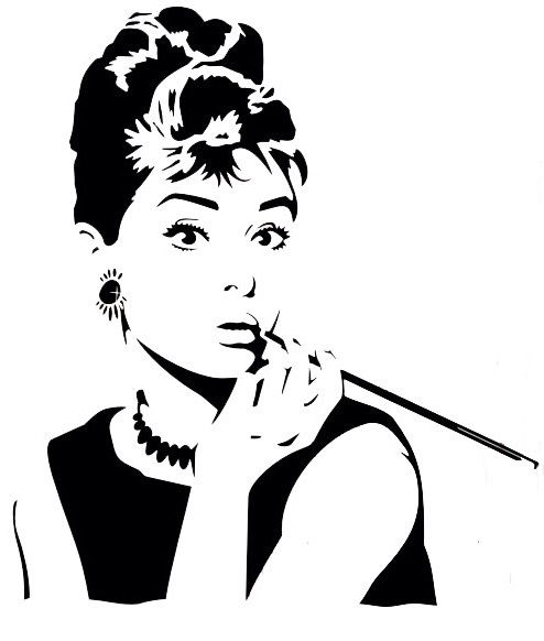 Audrey Hepburn black and white silhouette painting
