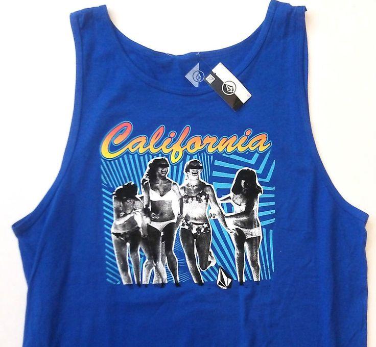 VOLCOM STONE CALIFORNIA TANK TOP Blue/White/Yellow/Orange Hot-Bikini-Girl MEN XL #Volcom #GraphicTee