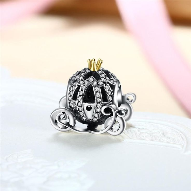 Cinderella's Pumpkin Carriage 925 Sterling Silver Charm, Fits Pandora Bracelets