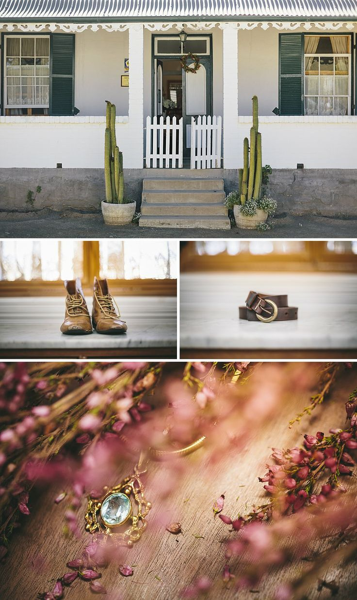 Sarah and the ladies got dressed at this quaint lodge just 2 streets away from the ceremony. I just loved her shoes! #Sarah #Wedding #Nieu-Bethesda #CharlieRay #Photography #Jewellery #Belt #Shoes