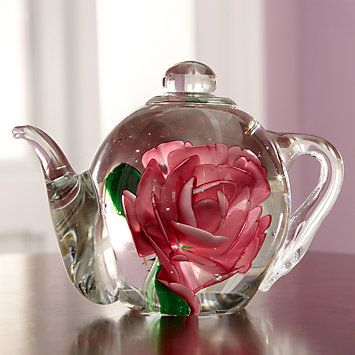 Pink Rose Teapot Paperweight by Lenox
