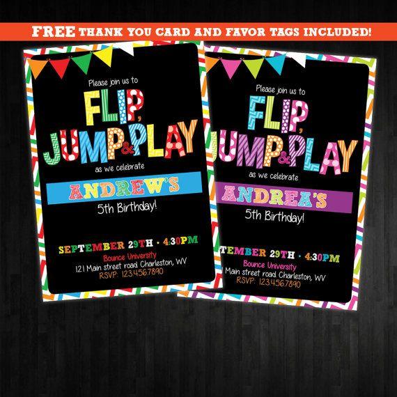 gymnastics trampoline Birthday Invitation first by AbbyReeseDesign