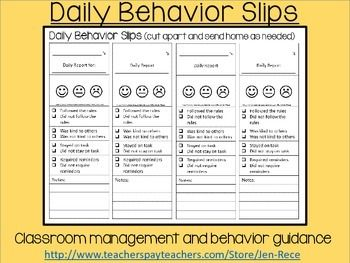Student Behavior Slip: Daily communication from teachers to parents Use this practical slip on a daily basis and send it home to report back to your students' parents in a timely fashion. Circle one of the faces so even the youngest students understand how their behavior has been evaluated.
