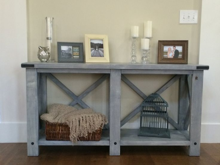 Console Wood Sofa Table In Custom Antique Blue