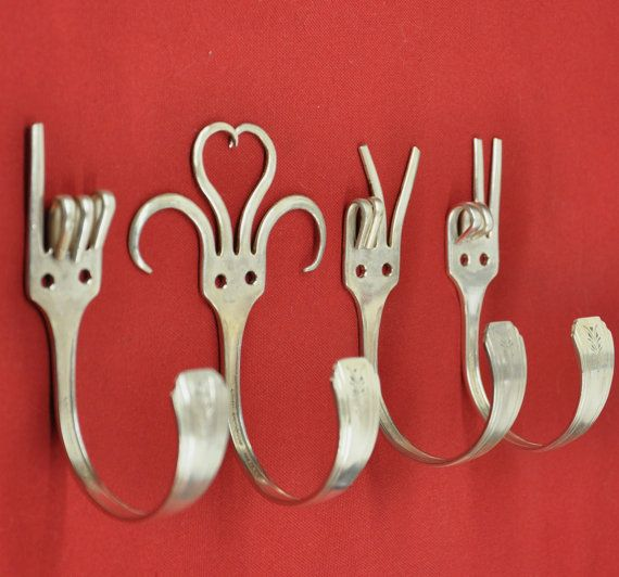 Ganchos criativos - I Love You 2 - Special Dinner Fork Collector set 4 Silverware Coat Hooks  American Sign Language