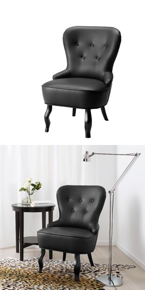 OMEDELBAR Armchair, $249 - nothing adds a touch of rock n' roll glamour to your space like a black armchair with a corset-like lace detail up the back.