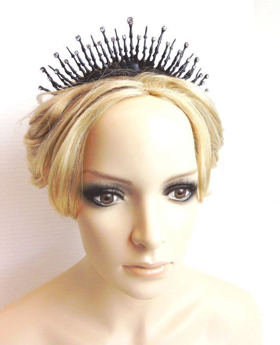Black Gothic Tiara for the perfect noir steampunk bride made of clock hands and crystals- Juliet's Lament