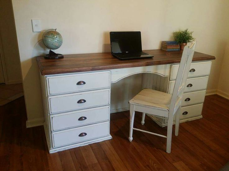 Farmhouse style refinished desk with stained hardwood timber top.  Facebook.com/bevelled.edge