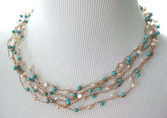 Freshwater pearl copper wire necklace with by AshevilleHandmade, $48.00