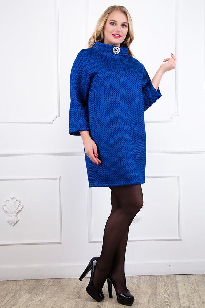 Мода для полных, пальто-кокон из неопрена цвет синий, большие размеры, доступная цена, высокое качество, купить пальто в интернет-магазине guppi.com.ua