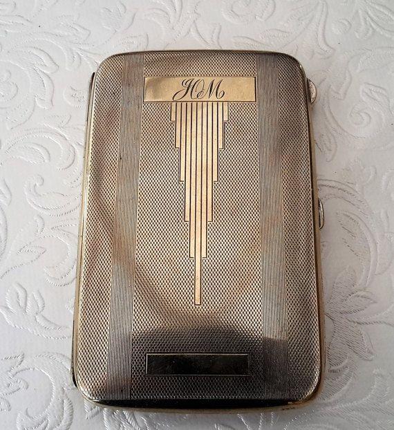Vintage cigarette case silver plated EPNS cigarette holder