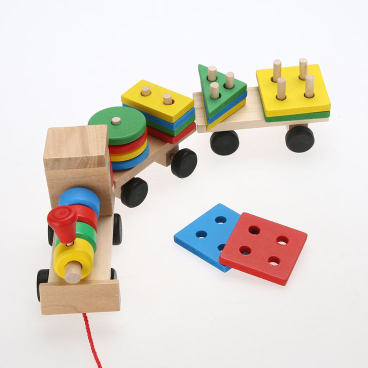 New Vehicle Blocks Train Educational Kid Baby Wooden Solid Wood Stacking Train Toddler Block Toy