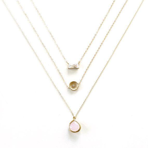 Strato di oro collana, collana oro, collana Minimal semplice, oro 14k riempire collana catena sottile Landon Lacey, delicata collana, taglio smeraldo