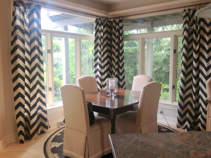 Curtain for side room - chevron with dark gray and other