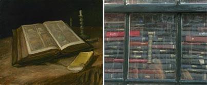 Imágenes: Izquierda: Vincent van Gogh, naturaleza muerta con Biblia, 1885, Van Gogh Museum de Amsterdam (Fundación de Vincent van Gogh)  Derecha: Detalle de instalación de la milla de Van Gogh 'Alegría', por Henk Schut