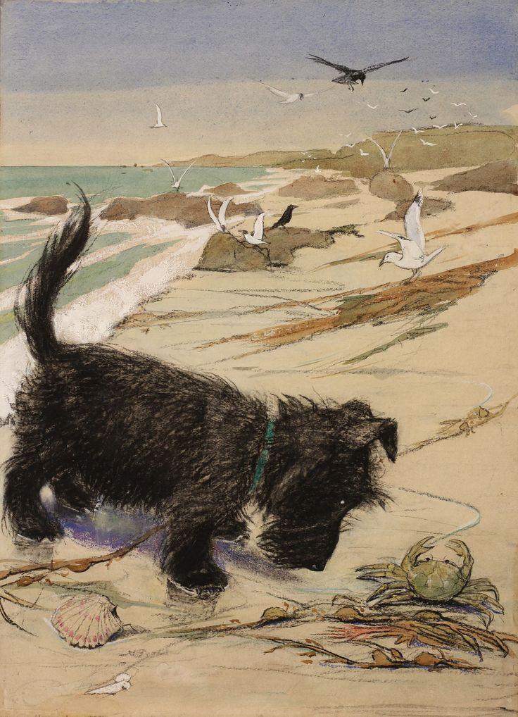 """""""Seashore"""" Scottish Terrier pastel by Muriel Helen Dawson (1897-1974)"""