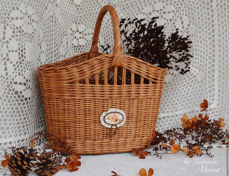"""Купить Большая плетеная корзина """"Осенний вальс"""" - коричневый, плетеная корзина, плетение, корзина"""