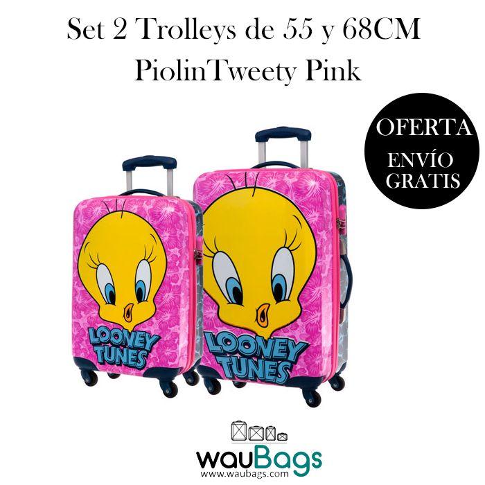 Este verano viaja de la manera más divertida y original con el Set de Maletas Trolley Piolin Tweety Pink (una de ellas apta para cabina), ahora con un 30% de descuento!!! @waubags #piolin #warnerbros #verano #viaje #maletas #trolley #oferta #descuento #setdeviaje #waubags