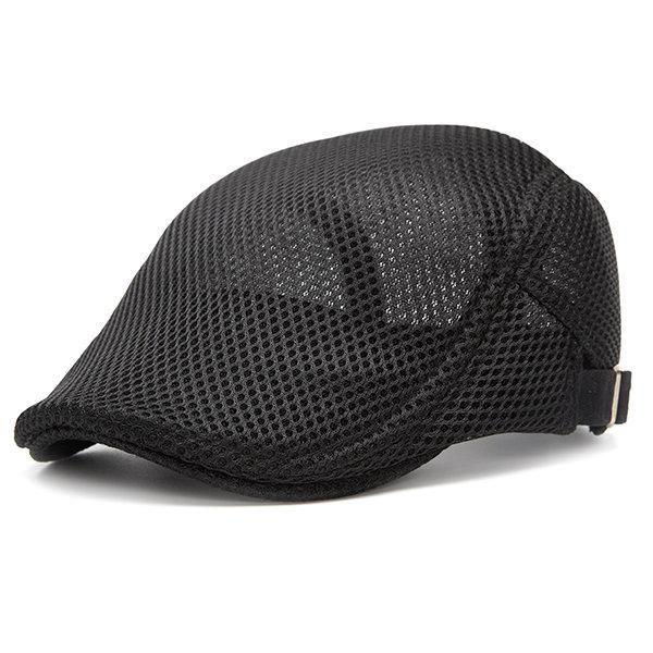 Summer Mesh Beret Cap Adjustable Solid Color Newboy Hat in 2019 ... 3b9f4eef94b0