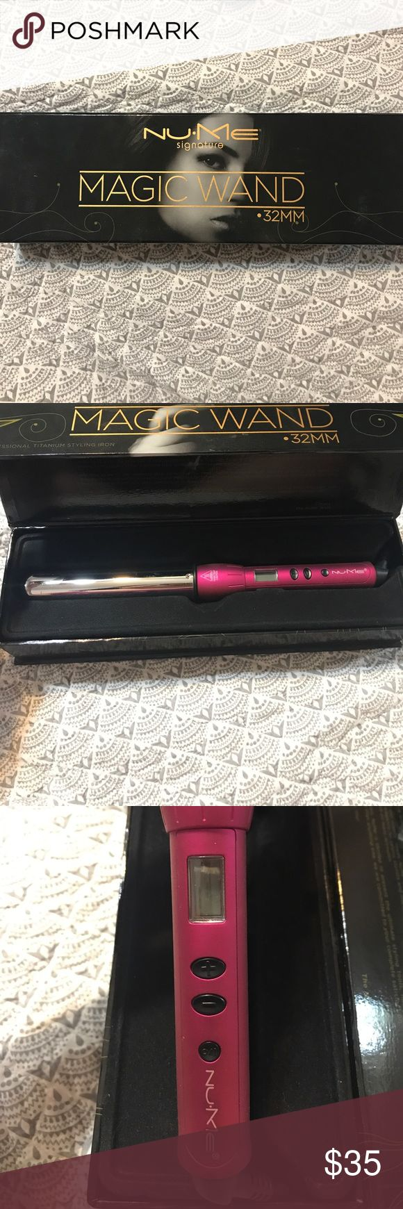 NuMe curling wand. NuMe 35mm magic wand, titanium curling wand. Hot pink. Didgital display, heats to 450 degrees. New without tags. NuMe Accessories Hair Accessories