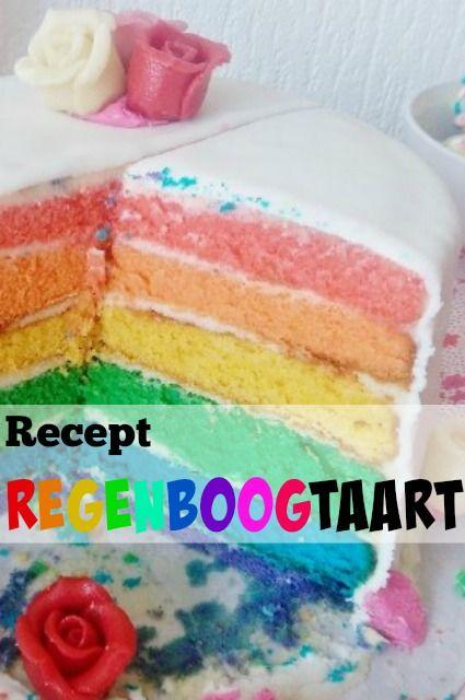 Recept om zelf een regenboogtaart te maken met gekleurde laagjes, gevuld met botercreme en afgewerkt met marsepein en fondant - Mamaliefde.nl