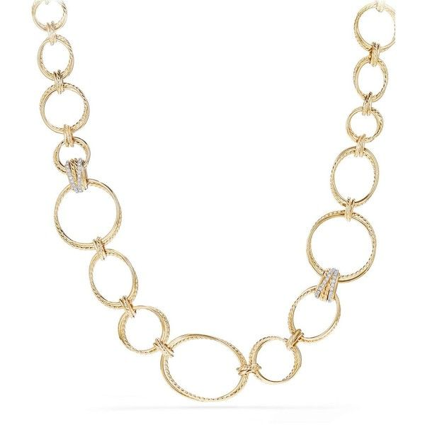 David Yurman Crossover Gold Convertible Statement Necklace with... ($15,000) ❤ liked on Polyvore featuring jewelry, necklaces, yellow gold jewelry, gold diamond jewelry, yellow gold diamond necklace, gold jewelry and diamond statement necklace