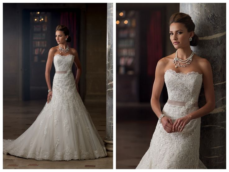 Strapless A-line Lace Appliques Wedding Dresses